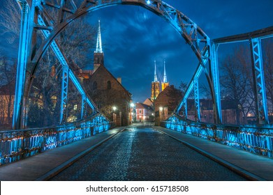 Wroclaw Cathedral seen through Tumski Bridge, Wroclaw's Saint Johns the Baptist Cathedral, Wroclaw, Poland