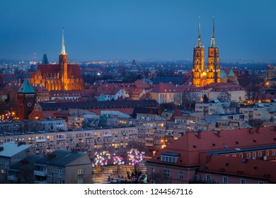 Wroclaw city center after the sunset
