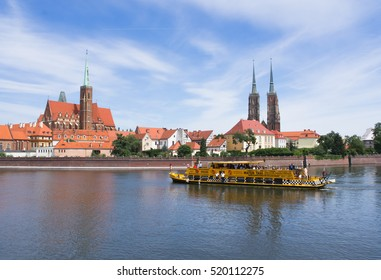 Wroclaw - July 08: View of the island of Tomski in Wroclaw. Day on July 08, 2017.