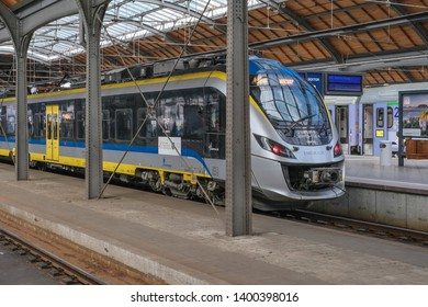 Wroclaw, Lower Silesia, Poland - April 22, 2019: Wroclaw Glowny main railway station, the largest and most important in southwestern Poland, located near the center of the city.