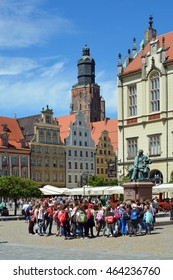 Wroclaw, Lower Silesia, Poland - June 16, 2016: View from the Market Square in the historic Old Town on the St. Elisabeth Church of Wroclaw - Poland.
