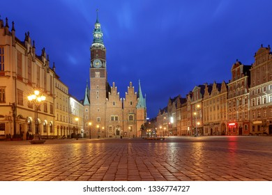 Wroclaw Market Square at night.