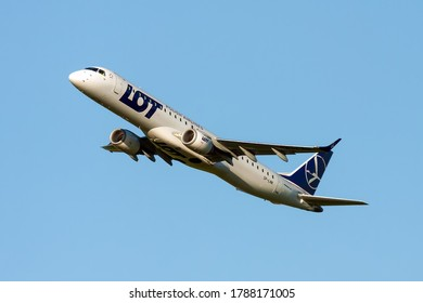 Wroclaw Nicolaus Copernicus Airport / Poland - 02 Aug 2020: LOT Polish Airlines International Airways / Airplane; Embraer 195LR with reg. No SP-LNK