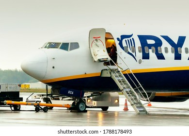 Wroclaw Nicolaus Copernicus Airport / Poland - 17 Jul 2020: Airplane Boeing 737-8AS of Ryanair Low-Cost Airways with reg. No SP-RSA