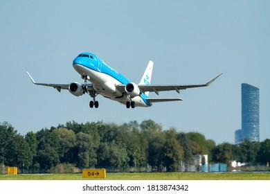 Wroclaw Nicolaus Copernicus International Airport, Lower Silesian Voivodeship / Poland - 11.09.2020: PH-EXG KLM Cityhopper Embraer ERJ-175STD (ERJ-170-200) at Final Approach to EPWR Airport