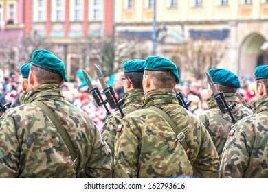 WROCLAW - NOVEMBER 11: Polish Army, Independence Day military parade November 11, 2013 in Wroclaw, Poland