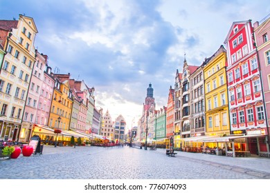 Wroclaw old town square during sunset, Poland