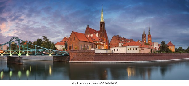 Wroclaw Panorama. Panoramic image of Wroclaw, Poland during twilight blue hour.