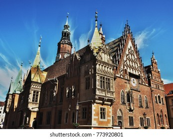 Wroclaw, Poland - 05/18/2017 Gothic city hall in main square