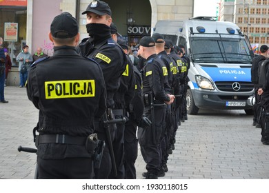 Wroclaw, Poland, 07.10.2017, Polish policemen and policewomen in black uniforms during the security of the assembly in Wrocław in the old town.