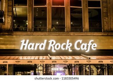 Wroclaw, Dolnośląskie / Poland - 09 15 2018: Hard Rock Cafe in the old town Night