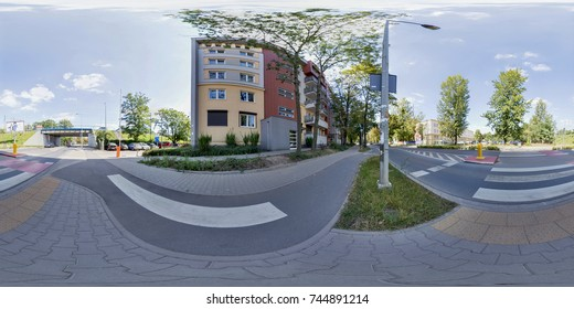 Wroclaw Poland - 17 June 2017: Full 360 degree view of the street virtual reality format