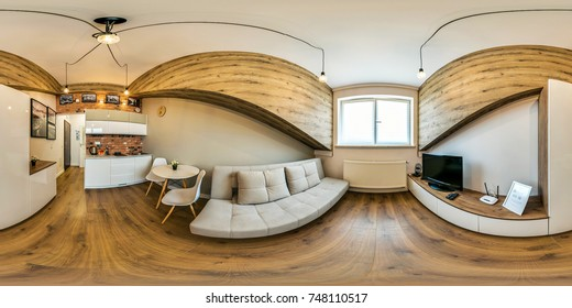 Wroclaw Poland - 17 June 2017: Full 360 degree view of the room virtual reality format