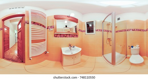 Wroclaw Poland - 17 June 2017: Full 360 degree view of the bathroom virtual reality format