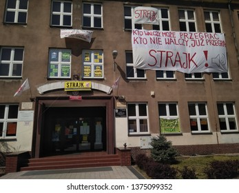 Wroclaw, Poland - 20 April 2019. General teacher's strike (polish: strajk generalny nauczycieli). Builing one of the Wroclaw high schools whit banners and flags - image
