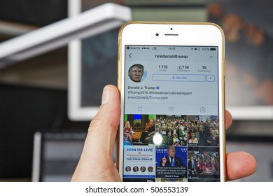 WROCLAW. POLAND- 20, October, 2016: Donald Trump's Instagram account shown on Iphone 6 plus,