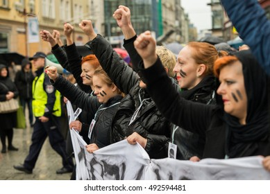 "Wroclaw, Poland, 2016 10 03 - protest against anti-abortion law forced by Polish government PIS, black protest - ""czarny protest"" on 03,10,2016 in Wroclaw, Poland"