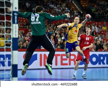 Wroclaw, Poland. 22th January, 2016. European Championships in Men's Handball, EHF EURO 2016 Group 2 match Sweden - Russia 28:28. In action Johan Jakobsson.