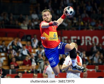 Wroclaw, Poland. 24th January, 2016. European Championships in Men's Handball, EHF EURO 2016 Group 2 match Spain vs Denmark 23:27. In action Victor Tomas.