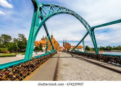 Wroclaw Poland - 28 June 2017: The city of Wroclaw is a view of the island of Tumsk on which the castles of lovers