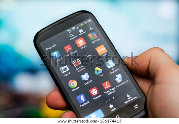 WROCLAW, POLAND - APRIL 05, 2014: Multiple android application with polish interface