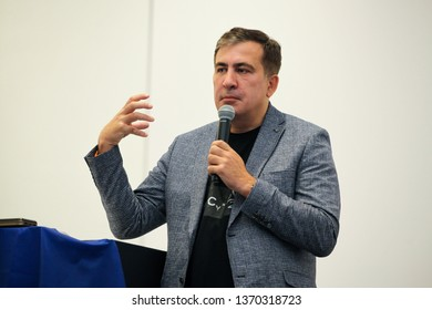 Wroclaw Poland - April 14, 2019: Mikheil Saakashvili speaking before the gathered Ukrainians with the election program of the new party The movement of new forces
