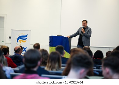 Wroclaw Poland - April 14, 2019: Mikheil Saakashvili speaking before the gathered Ukrainians with the election program. The inscription in Ukrainian: The movement of new forces