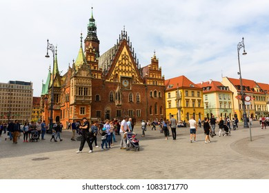 WROCLAW - POLAND - APRIL 15, 2018 : Gothic Wroclaw Town Hall on market square. It was  built in the 13th century , one of the main landmarks of the city.