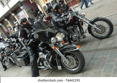 WROCLAW, POLAND - APRIL 16: Motorcycle parade and season opening in Poland. Harley-Davidson riders setup bikes to start rally on April 16, 2011 in Wroclaw, Poland.