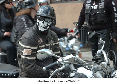 WROCLAW, POLAND - APRIL 16:  An unidentified motorcycle rider in a mask takes part in a motorcycle parade and blood drive for hospitalized children on April 16, 2011 in Wroclaw, Poland.