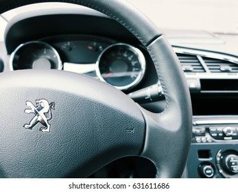 WROCLAW, POLAND- APRIL 27th, 2017: Interior of peugeot 3008. The Peugeot 3008 is a compact crossover unveiled by French automaker Peugeot in May 2008, and presented for the first time in Dubrovnik.