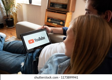 WROCLAW, POLAND - AUG 18, 2018: Youtube is most popular video service developed by Google.