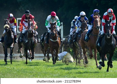 WROCLAW, POLAND - AUGUST 10; 2014: Race with fences for three year old horses a Racecourse WTWK Partynice.