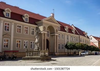 WROCLAW, POLAND - AUGUST 13, 2018: Papieski Wydział Teologiczny (Pontifical Faculty of Theology) in Wroclaw, Poland with the statue of Madonna z Dzieciątkiem (Madonna with a Child)