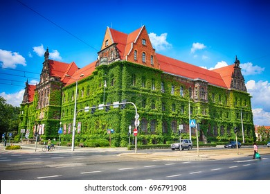 WROCLAW, POLAND - AUGUST 14, 2017: Wroclaw Old Town. The National Museum in Wroclaw occupies the building designed by an architect Karl Friedrich Endell and erected in 1883 - 1886.