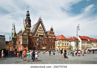 WROCLAW POLAND - August  18 2013: The Old Town Hall (Stary Ratusz) stands at the center of the city's Market Square (Rynek) on August  18  in Wroclaw