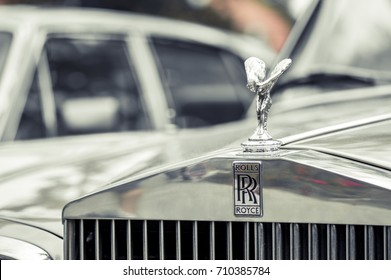 WROCLAW, POLAND -  AUGUST 19th, 2017: Hood ornament on a vintage Rolls Royce car. Rolls-Royce is a British luxury car and aero engine manufacturing business founded in 1904