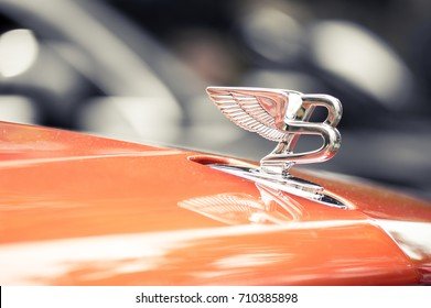 WROCLAW, POLAND -  AUGUST 19th, 2017: Hood ornament on a vintage Bentley car. Bentley Motors Limited is a British manufacturer and marketer of luxury cars
