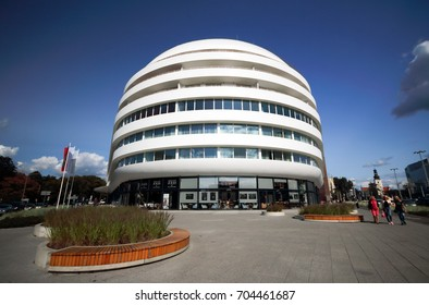 WROCLAW, POLAND - AUGUST 23, 2017: DoubleTree by Hilton Hotel Wroclaw, opened August 2016, is only 10 minutes away from the Old Town Market Square. Located in the futuristic OVO Wroclaw complex.