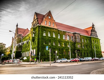 WROCLAW. POLAND - AUGUST, 23: Historic building covered with green ivy. National Museum in Wroclaw, Poland, August, 23, 2014