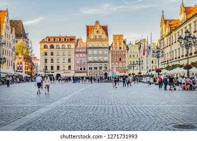 WROCLAW, POLAND - AUGUST 30, 2017: View of Market square in Wroclaw Old Town. Wroclaw - historical capital of Lower Silesia, city with one of the most colorful Market squares in Europe.