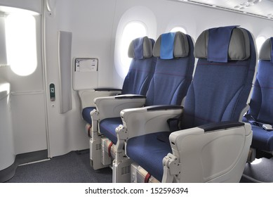 WROCLAW, POLAND - AUGUST 4: Interior of the New Boeing 787 Dreamliner during a training flight from Bydgoszcz to Wroclaw on August 4, 2013 in Wroclaw, Poland.
