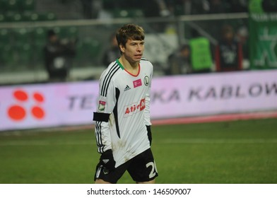 WROCLAW, POLAND - DEC 07: Match T-Mobile Ekstraklasa between Wks Slask Wroclaw and Legia Warszaw, Kuba Kosecki in action on  December 07, 2012 in Wroclaw, Poland.