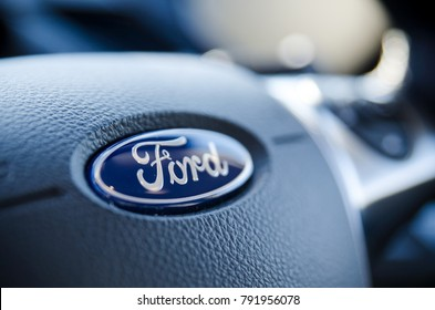 WROCLAW, POLAND - DEC 13, 2017: Ford sign on steering wheel close up. Ford is the most popular car on the aftermarket in Poland