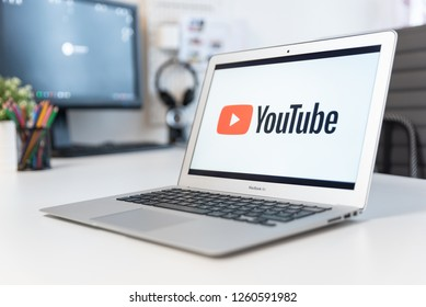 Wroclaw, Poland - DEC 14, 2018: Youtube is most popular video service developed by Google