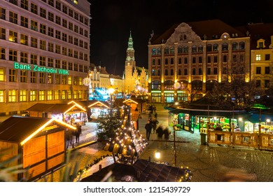 WROCLAW, POLAND - DEC 7, 2017: Christmas market on Market square (Rynek) in Wroclaw, Poland. One of Poland's best and largest Christmas markets, stretching across two sides of Wroclaw's market square