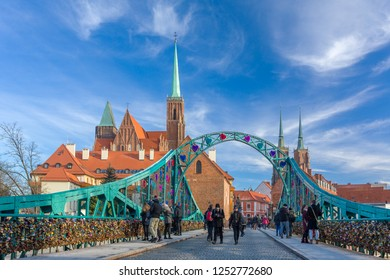 Wroclaw, Poland - December 10, 2017: Cathedral of St John the Baptist on the Odra river in Wroclaw, Poland