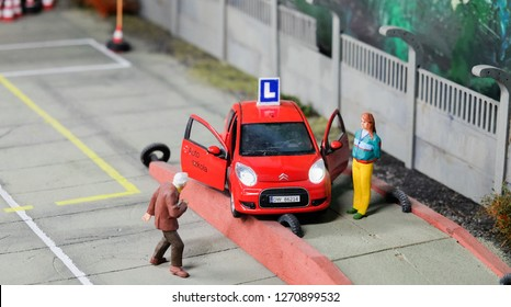 WROCLAW, POLAND - DECEMBER 12, 2018: Maquette or miniature of an accident scene during driving lesson