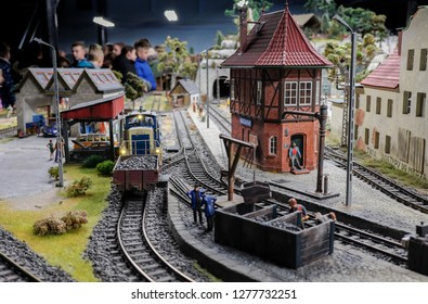 WROCLAW, POLAND - DECEMBER 12, 2018: The maquette of retro freight train with coal at Kolejkowo - largest model trains exhibit in Poland