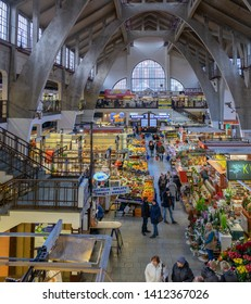 """WROCLAW, POLAND - DECEMBER 12, 2019: Large panaramic view of the Wroclaw Market Hall """"Hala Targowa"""" - central market place at Wroclaw. Poland"""